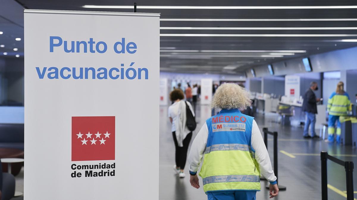 Punto de vacunación del Wanda Metropolitano, a 19 de mayo de 2021.