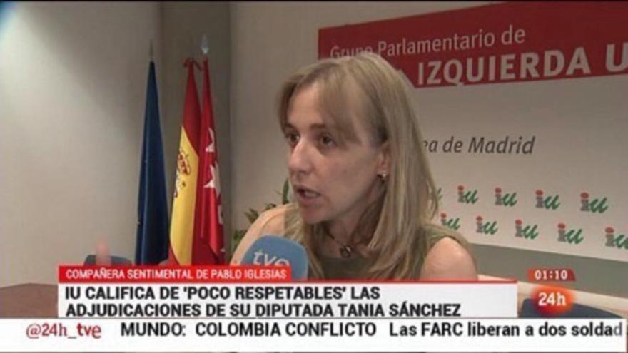 Información sobre Tania Sánchez, diputada de IU en la Asamblea de Madrid, en el canal 24 Horas de RTVE.