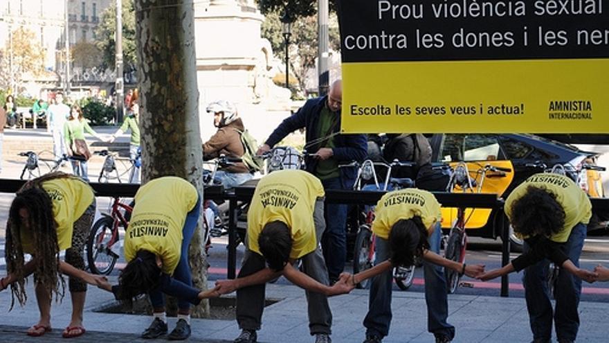 Evento de acroyoga celebrado el año pasado en la Plaza de Catalunya (Barcelona). © AIC