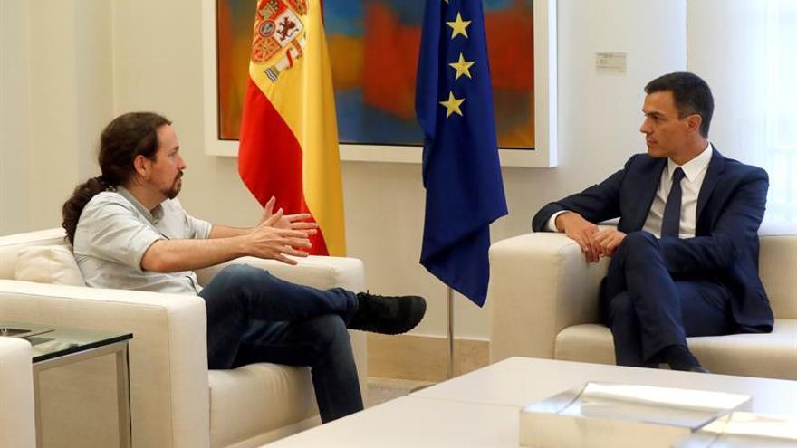 Pedro Sánchez y Pablo Iglesias, en su última reunión en la Moncloa.