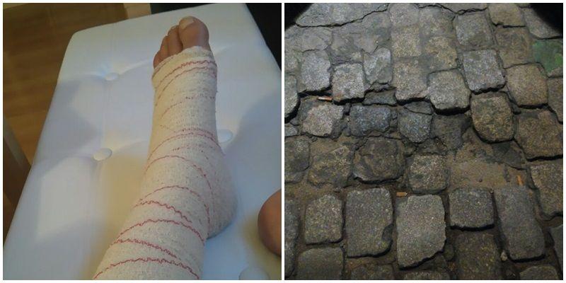 El tobillo izquierdo de Mónica, vendado. A la derecha, el lugar del incidente