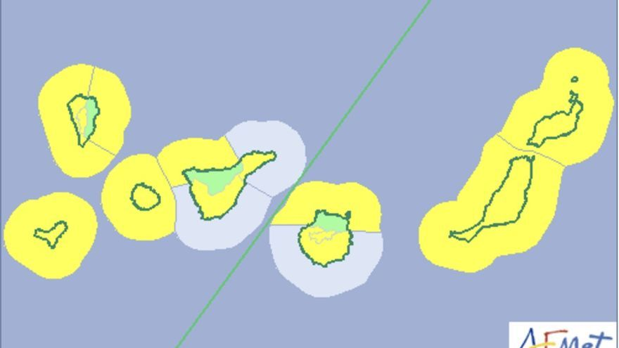 Mapa de la Aemet del aviso de riesgo por lluvias y fenómenos costeros para este lunes y martes.