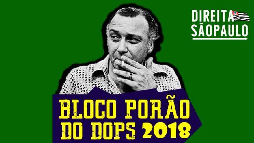 Imagen de la fiesta 'Sótano DOPS' con la imagen de Sérgio Paranhos Fleury, antiguo jefe de la agencia policial que torturaba a disidentes.