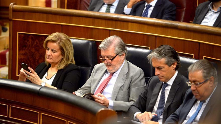 Los ministros mientras hablaba Albert Rivera en el pleno sobre Gürtel.