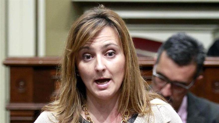 La consejera de Medio Ambiente del Gobierno de Canarias, Nieves Lady Barretodurante su intervencion ante el pleno del Parlamento de Canarias.