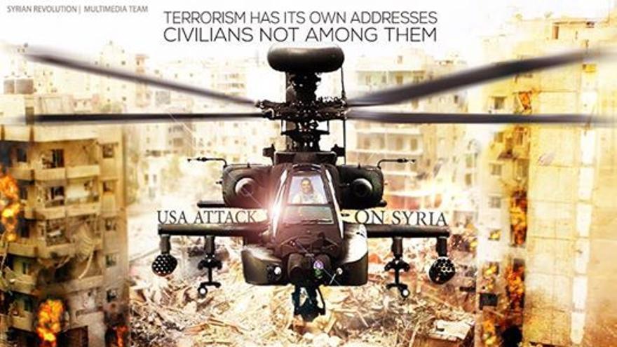 Poster creado por el equipo multimedia de la página de la Revolución Siria y compartido en Facebook.