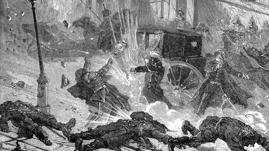 Lámina que retrata el atentado contra Alejandro II de Rusia/ El catecismo revolucionario