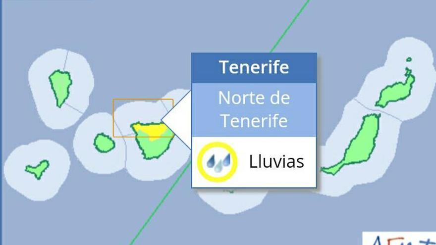 Aviso amarillo por lluvias fuertes en Tenerife el 13 de agosto