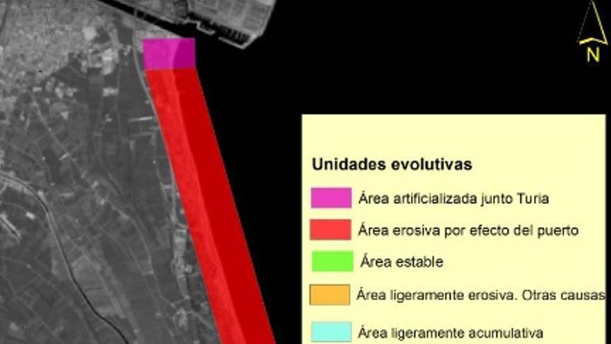 En rojo, las playas más afectadas por la erosión provocada por las ampliaciones del Puerto de València