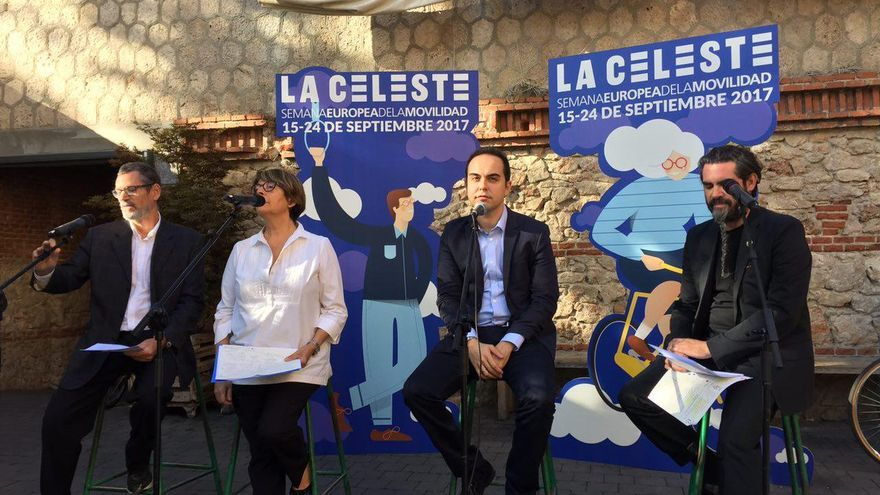 El elquipo del Ayuntamiento de Madrid durante la presentación del La Celeste en el Matadero