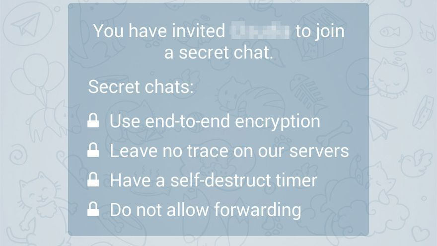 Características de un chat privado en Telegram