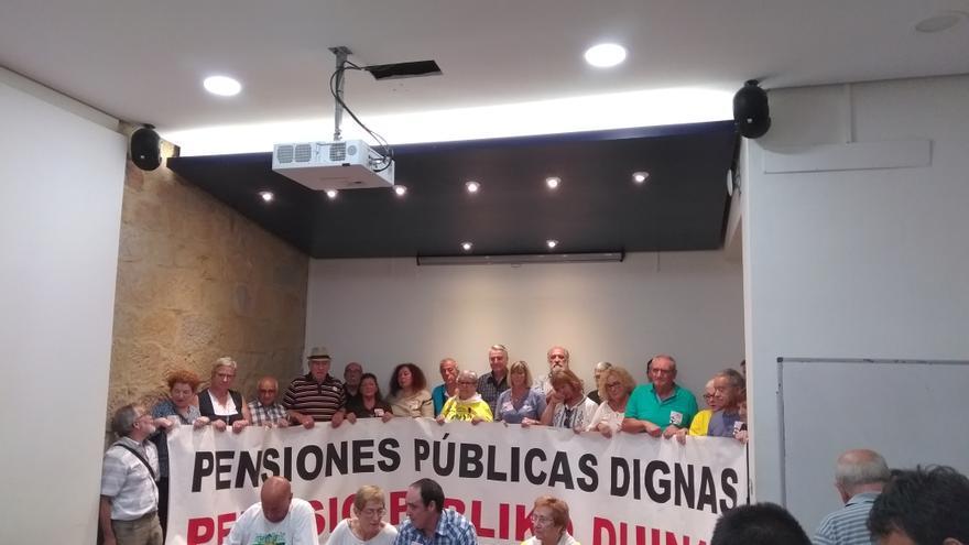 El Movimiento de pensionistas de Bizkaia en rueda de prensa