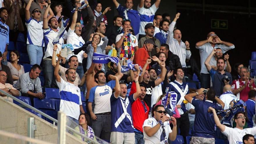 Aficionados blanquiazules en Barcelona