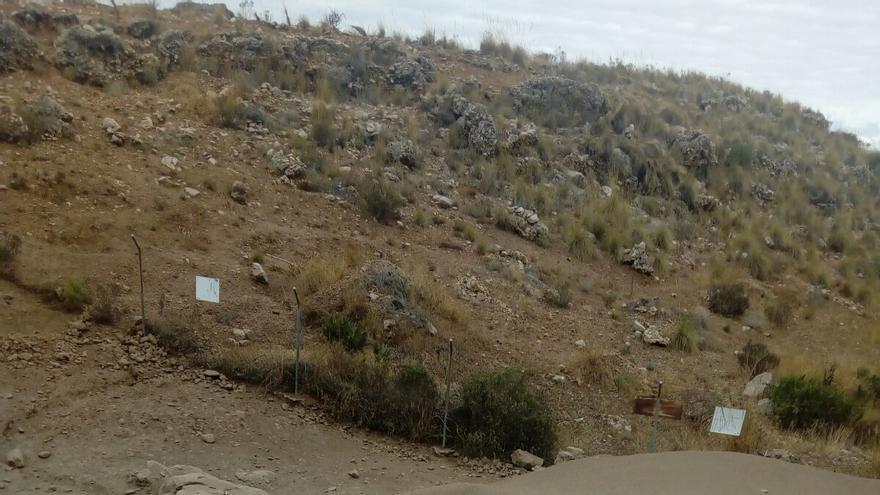 Imagen del límite del campo de tiro de Jarapalo, donde se observa la tierra con plomo