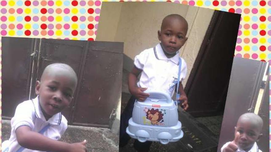 Collage de fotos realizado por la familia de Samuel del niño vestido con el uniforme de la guardería. | Imagen cedida por la familia