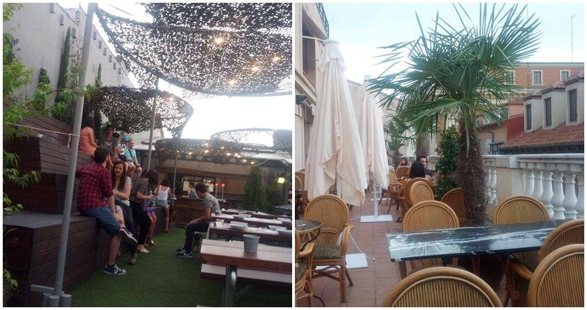 A la izquierda, terraza del restaurante Parq; a la derecha, la de Cubanismo   Foto: Somos Malasaña