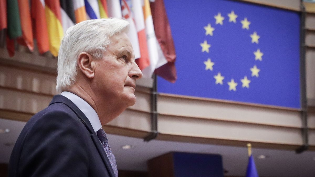 El negociador europeo para el brexit, Michel Barnier, en una comparecencia ante el pleno del Parlamento Europeo en Bruselas.