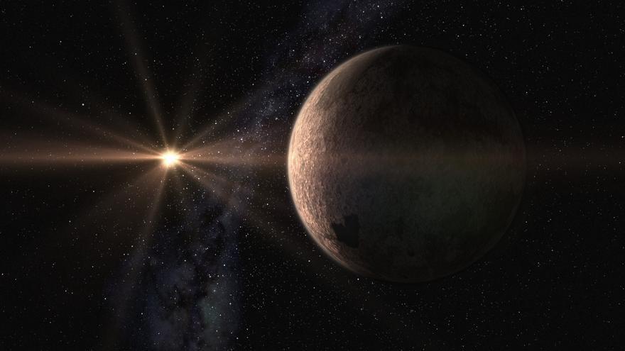 Diseño artístico de la súper-Tierra  GJ 625 b y su estrella, GJ625 (Gliese 625). Crédito: Gabriel Pérez, SMM (IAC).