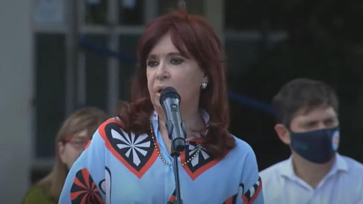 La vicepresidenta, Cristina Fernández de Kirchner, en un acto en Las Flores