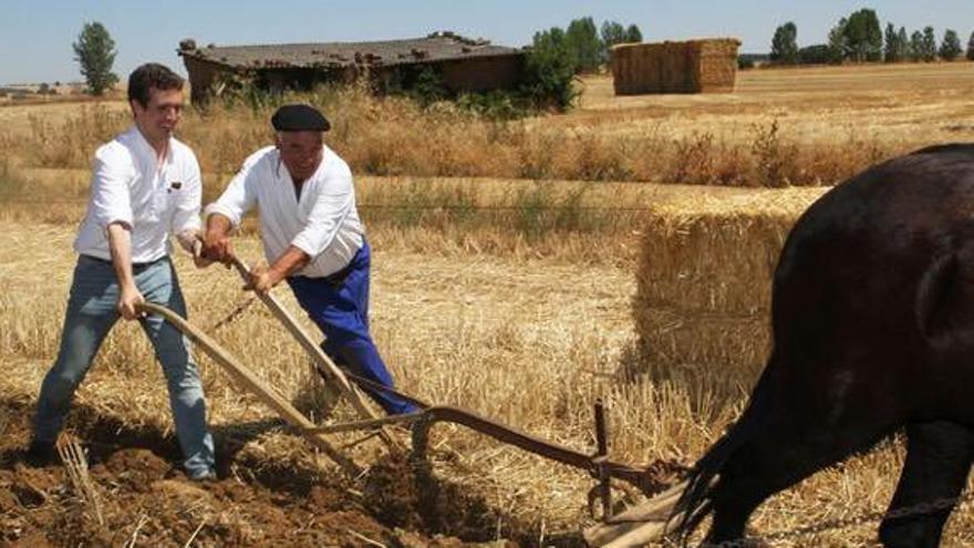 Pablo Casado, junto a agricultores de Palencia