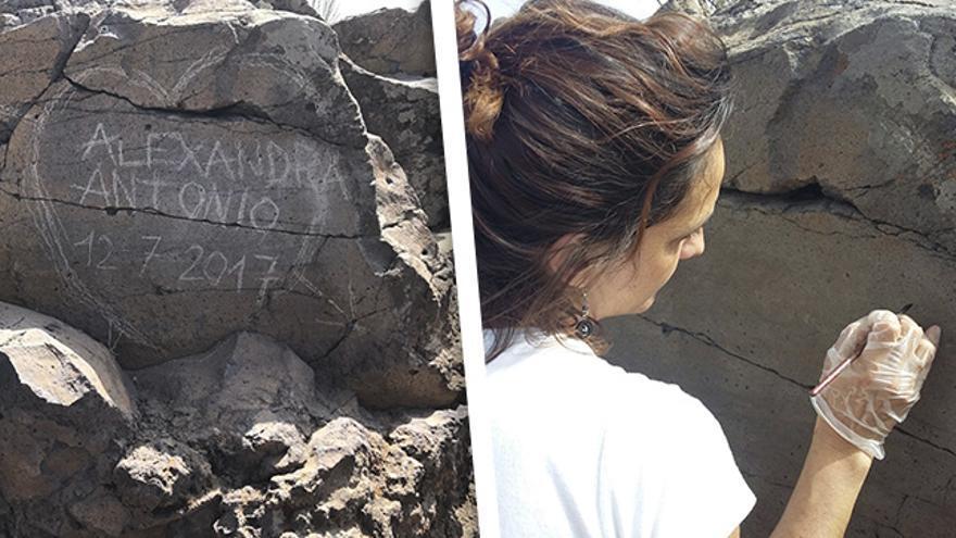 Graffiti en el almogarén del Bentayga y trabajos de restauración.