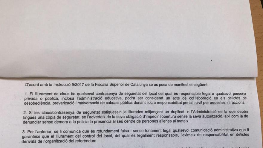Documento entregado a los directores