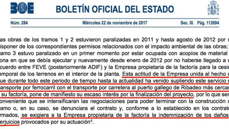 """BOE en el que el Tribunal de Cuentas pide que la administración denuncie a Ence por """"daños y perjuicios"""""""