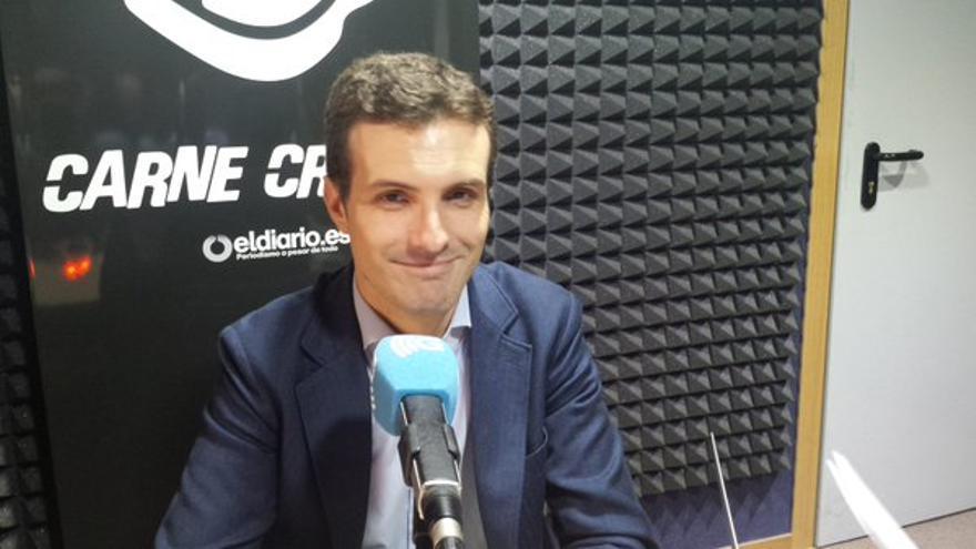 Pablo Casado, durante la entrevista en Carne Cruda.