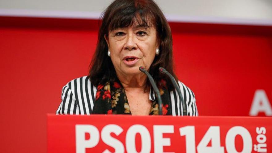 La presidenta del PSOE, Cristina Narbona, durante la rueda de prensa posterior a la reunión de la Ejecutiva Federal del partido.