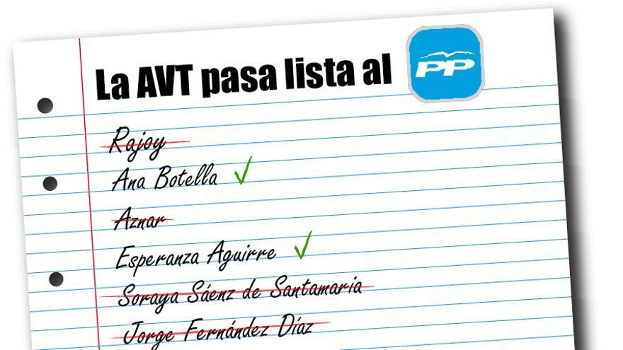 La lista de los miembros del PP que asistirán o no a la manifestación de la AVT