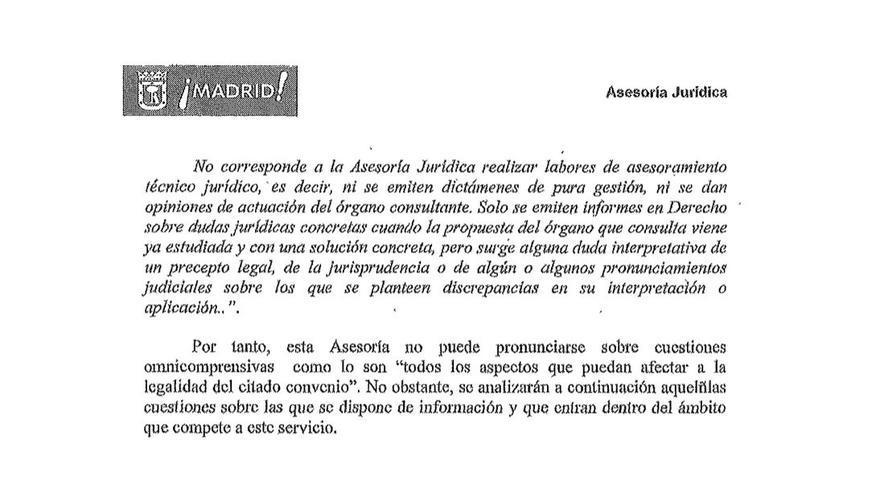 Extracto respuesta Asesoría Jurídica