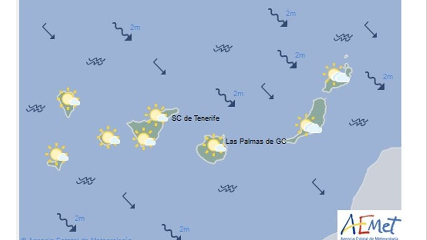 Mapa con la previsión del tiempo para este lunes, 5 de diciembre