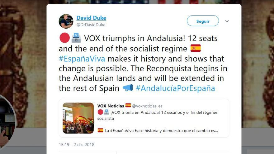 David Duke felicita a Vox en Twitter