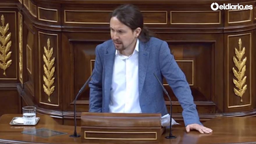 Pablo Iglesias, durante su intervención en la Moción de Censura a Rajoy