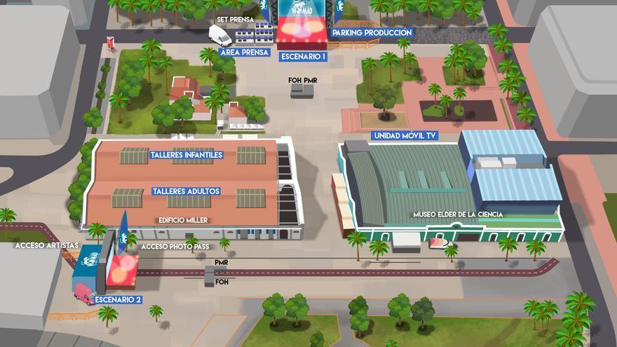 Infografía del escenario del Womad en el Parque de Santa Catalina.