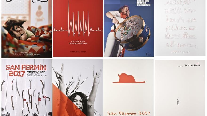 La mujer, el toro y la comparsa, en los ocho carteles finalistas para anunciar los Sanfermines 2017
