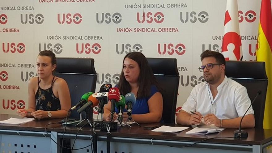Representantes de USO durante de la presentación del informe sobre la situación de los jóvenes en España
