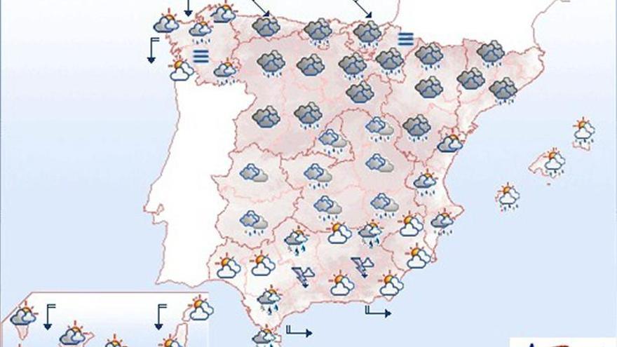 Mañana nubes y lluvias en parte de España con descenso de las temperaturas