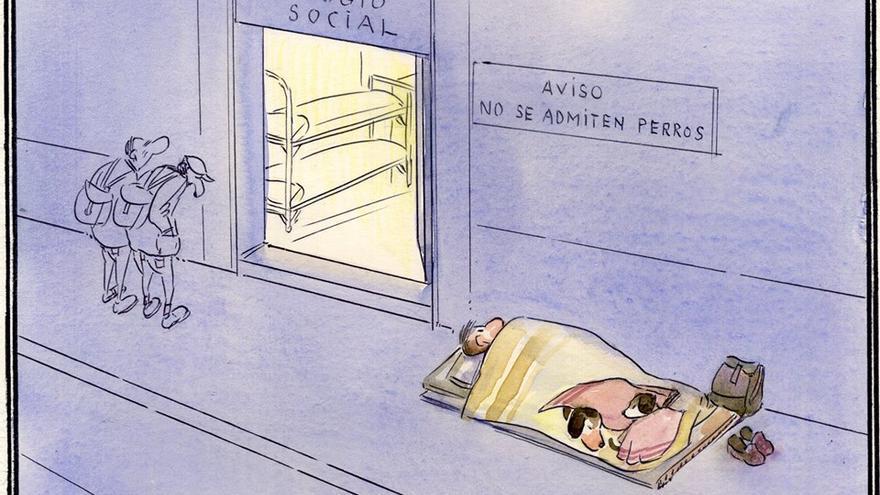 Mendigo y perros. Dibujo: Paco Catalán Carrión