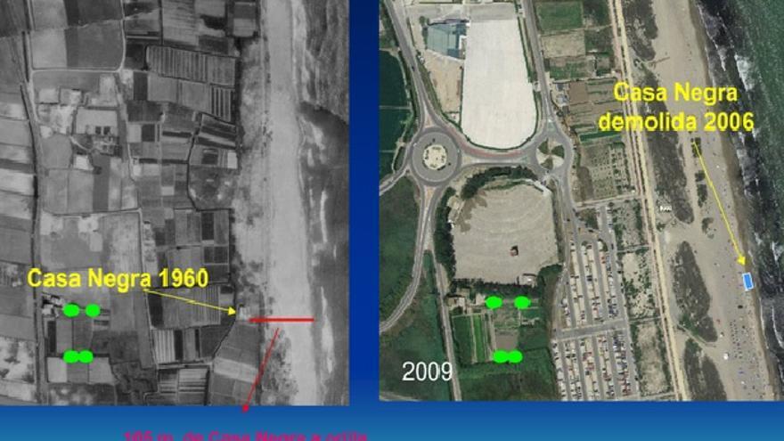Evolución de la línea de playa en La Casa Negra de 1960 a 2006