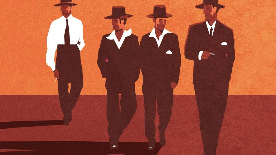 Portada de 'Los escritores plagiaristas' inspirada en 'The Billy Boys' de Jack Vettriano