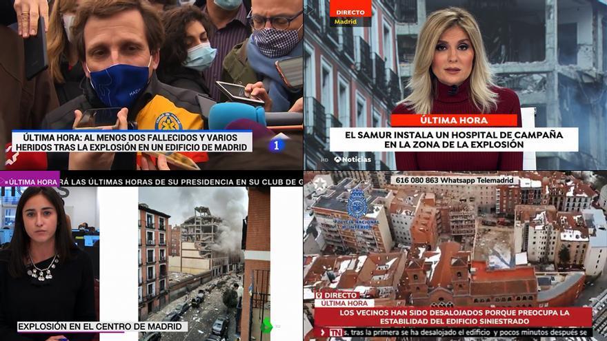 TVE, Atresmedia y Telemadrid alteran su programación por la explosión en Madrid