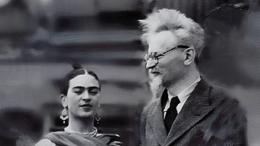 Frida Kahlo y León Trotski en la casa de Mexico
