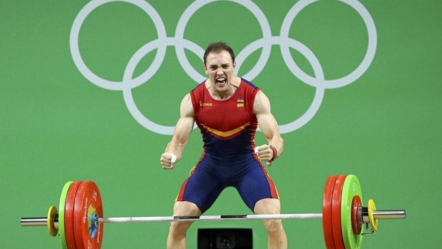 El tinerfeño Andrés Mata, que compite en halterofilia en la categoria de 77 kilos en los Juegos Olímpicos de Río.