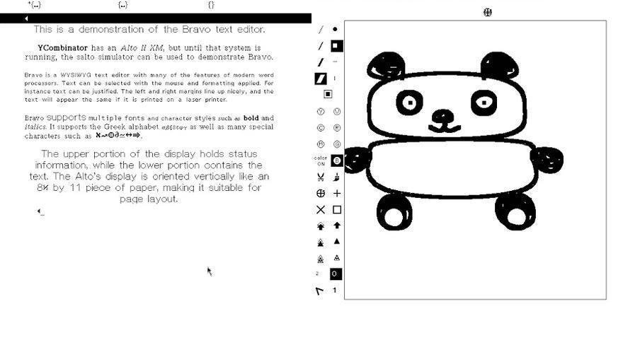 A la izquierda, una recreación del editor Bravo. A la derecha, el programa Draw que usaba ratón e iconos.