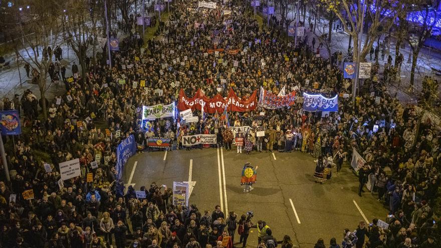 Vista aérea de una de las performances que se representaron durante la Marcha por el Clima