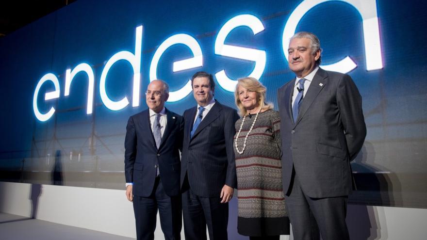 Francesco Starace, Borja Prado, la presidenta de Enel, Patrizia Grieco, y José Bogas, en 2016.