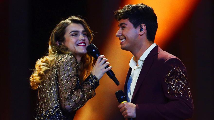 Amaia y Alfred en la final de Eurovisión 2018