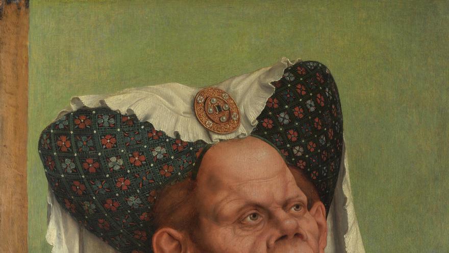 ' La duquesa fea', también conocido como 'Una vieja grotesca. Pintado por Quinten Massys en 1513 en óleo sobre roble