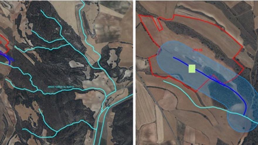 Plano de la macrogranja proyectado en las capas hidrográficas de la zona